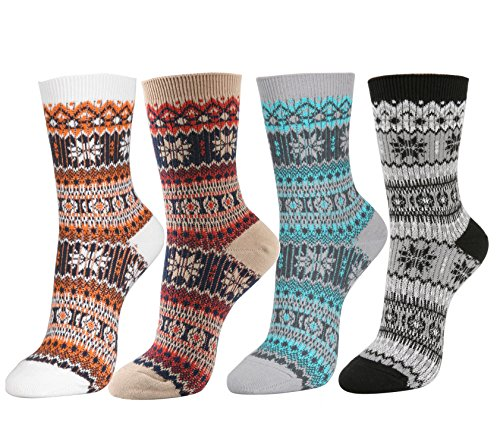(STYLEGAGA Women's Winter Multi-color Cotton Jacquard Knit Ankle Socks (One Size fit : Regular, Snowflakes-4Pair))