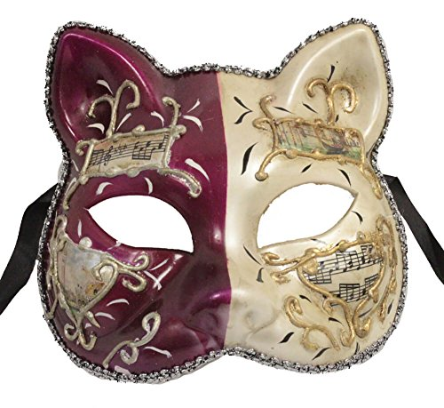 Dress Masqurade (RedSkyTrader Mens Cat Face Venetian Party Mask One Size Fits Most White And)
