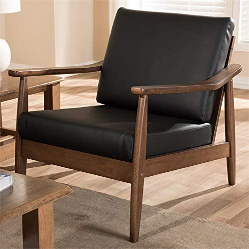 Baxton Studio Venza Faux Leather Accent Arm Chair