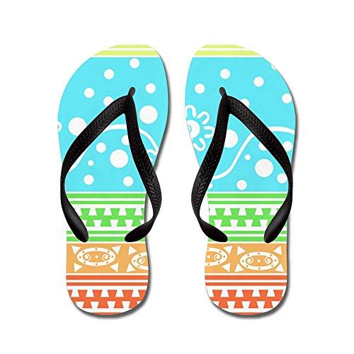 Cafepress Aztec Bloementuin Kluwen - Flip Flops, Grappige String Sandalen, Strand Sandalen Zwart