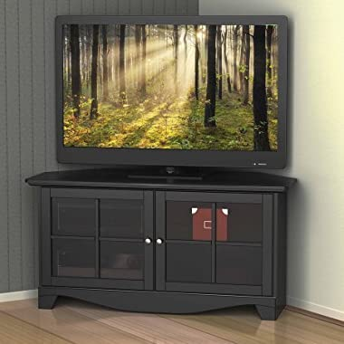 Adjustable Wood Construction 49  Pinnacle 2-Door Corner TV Stand for TVs, Black