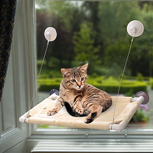 IN HAND Cat Window Perch, Save Space Cat Resting Sunny Seat with Durable Suction Cups or Fixing Screw Hammock Cat Bed, Safest Mount Window Bed
