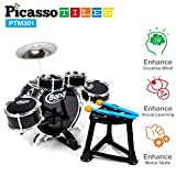 PicassoTiles PTM301 10 Piece Kid Rock N Roll Drum Set w/ 4 snare and 1 bass drums, a cymbal, a chair, a comfortable kick pedal, 2 drumsticks, and a sturdy chair - Metallic BLUE
