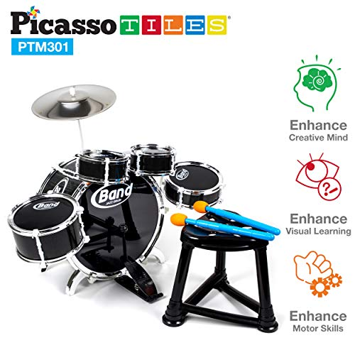 PicassoTiles PTM301 10 Piece Kid Rock N Roll Drum Set w/ 4 snare and 1 bass drums, a cymbal, a chair, a comfortable kick pedal, 2 drumsticks, and a sturdy ()