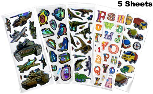 Stickers for Kids, 3D Puffy Stickers 5 Sheet (Mix of 5 - for Boys)