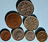 Set of 7 Rare Collectible Coins From United Kingdom / Great Britain - 1942 Threepence, 1948 One Shilling; One Farthing From 1940s, One Half Crown From 1947 to 1962, One 1967 Pence, One 2 Shilling Coin and One Six Pence Coin From 1966 or Earlier Year Comes in a Velveteen Gift Pouch
