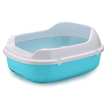 DSHBB Caja de Arena para Gatos, Inodoro Cat de Borde Alto, Bandeja para desechos de Gato para Control de olores (Color : Azul): Amazon.es: Hogar