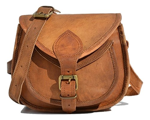 S&F Handmade Women Leather Vintage Style Genuine Brown Leather Cross Body Shoulder Bag - Purse Leather Handmade