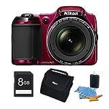Nikon COOLPIX L820 16 MP Digital Camera with 30x Zoom (Red) 8GB Premiere Bundle