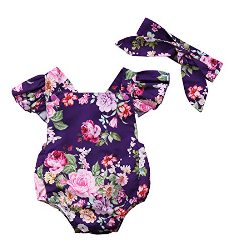 Newborn Kids Baby Girls Clothes Floral Jumpsuit Romper Playsuit + Headband Outfits (6-12 Months, Purple) ()