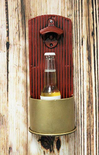 Ebros Western Hunter s 12 Gauge Shotgun Ammo Shell Casing Bottle Cap Opener Wall Mounted Decor with Cap Catcher Rustic Country Themed Decorative Accent