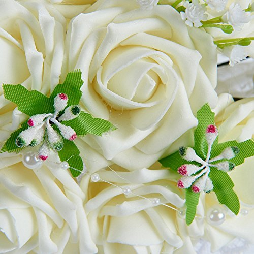 Sisjuly Lace Pearl Rose Holding Wedding Bridesmaid Bouquet with Flower White