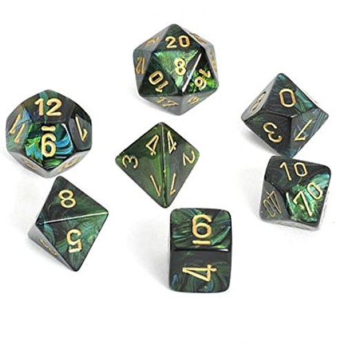 - Chessex Manufacturing Scarab Jade With Gold Polyhedral 7 Die Set