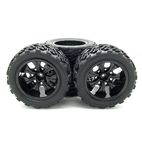 (JIUWU 1:10 RC Monster Truck Car Wheel Type Tires with 7 Spokes Wheel Rim Black RC Parts Pack of 4)