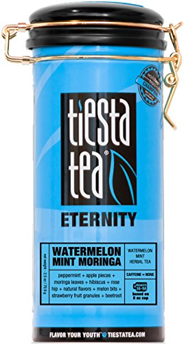 Tiesta Tea Watermelon Mint Moringa, Watermelon Mint Herbal Tea, 50 Servings, 2.5 Ounce Tin, Caffeine Free, Loose Leaf Herbal Tea Eternity Blend, Non-GMO - Zhena Tin Gypsy