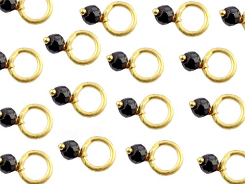 Hot Black Spinel Brass Gold Plated Wire Wrapped 6mm Round Ring with 3-3.5mm Rondelle Faceted Gemstone Beads ()
