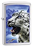 Zippo Lighter: Snow Leopard by Mazzi - Brushed Chrome