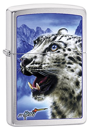 Zippo Lighter: Snow Leopard by Mazzi - Brushed Chrome 76656