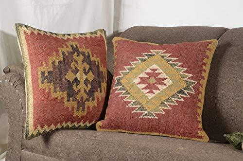 - HAND MADE 2 Set of Indian Vintage Jute Kilim Cushion Cover Decorative Rug Pillow Dorm Décor Rug Boho Shams