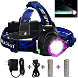 Adjustable Headlamp , LED Headlamp Flashlight Headlights with Rechargeable 18650 Batteries USB Charger for Cycling Running Dog Walking Camping Hiking Fishing Night Reading (Purple headlamp)