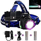 Adjustable Headlamp, LED Headlamp Flashlight Headlights with Rechargeable 18650 Batteries USB Charger for Cycling Running Dog Walking Camping Hiking Fishing Night Reading (Purple headlamp)
