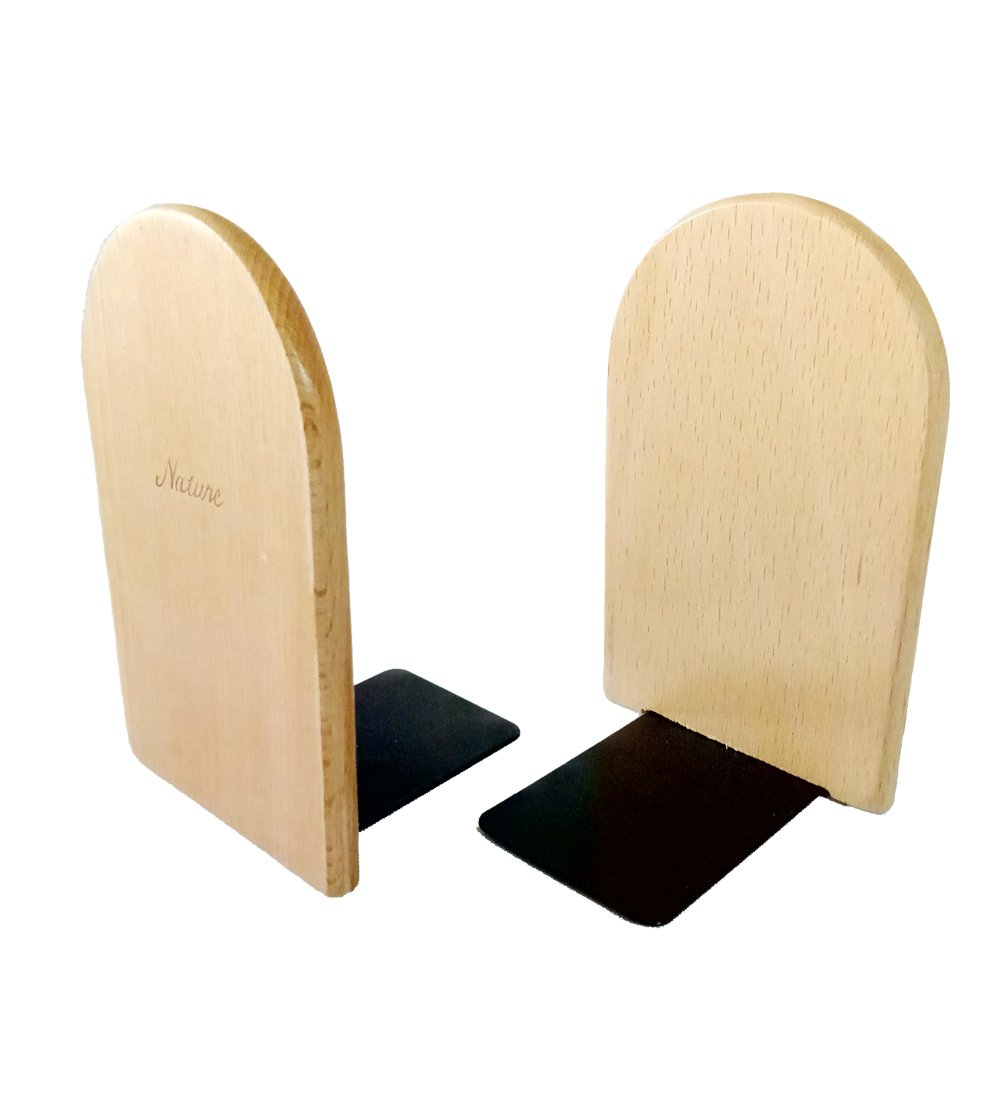 1Pair Simple Style Beech Wood Bookends Bookend for Library School Study Home Office Gift (Round)
