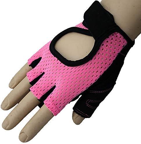手袋 サイクリンググローブ サイクルグローブ 自転車 手袋 衝撃吸収 耐磨耗性 換気性 通気性 速乾性 滑り止め付き 5色 男女兼用 SGSJP (Color : ピンク, Size : S)