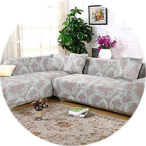 2 pcs Covers for Corner Sofa Sectional Couch Slipcovers Universal Elastic Stretch L Shaped Sofa Covers Furniture Protector SC022,10,3Seater and 4Seater (Sectionals Edmonton)