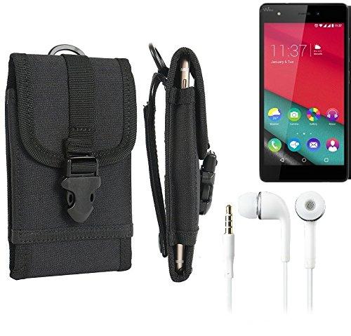 bolsa del cinturón / funda para Wiko Pulp, negro + Auriculares | caja del teléfono cubierta protectora bolso - K-S-Trade (TM)