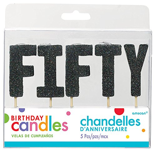 Black Glittered Birthday Pick Candle Set - FIFTY