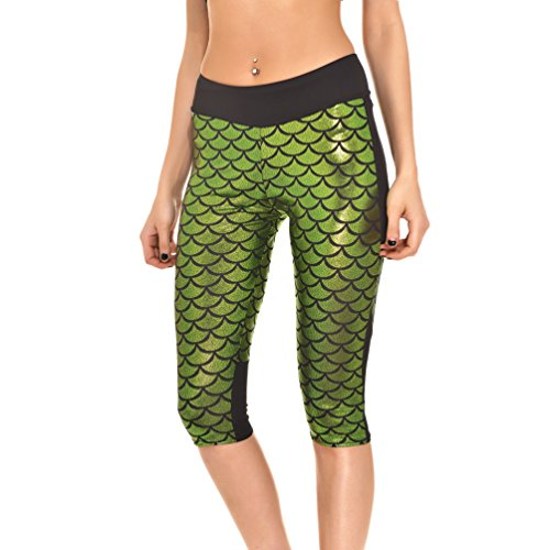 AISKLY Women Fish Scale Leggings Sports Capris Fitness Running Gym Legging