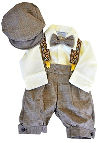 Infant & Toddler Boys Vintage Style Knickers Outfit 5-pc with Suspenders, Bowtie & Newsboy Cap (Toddlers 3T)