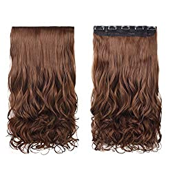"REECHO 18"" 1-Pack 3/4 Full Head Curly Wavy Clips in on Synthetic Hair Extensions Hairpieces for Women 5 Clips 4.0 Oz per Piece - Medium Warm Brown"