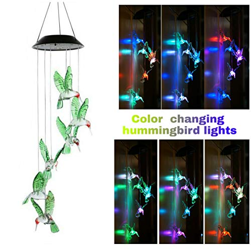 Solar Hummingbird Wind Chime-Like Lights, Waterproof LED Color Changing Decorative Lights for Home Yard Patio Garden Porch Novelty Light, Auto ON/Off with Light - Chimes Wind Decorative