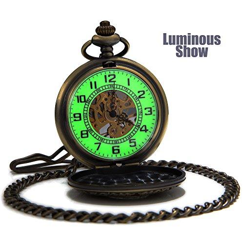 SEWOR Vintage Bronze Flower Mens Pocket Watch Luminous Case Mechanical hand wind