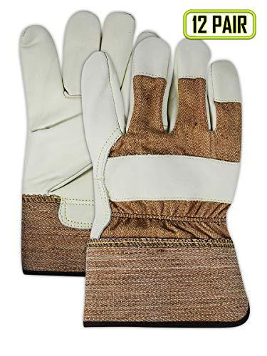 Magid Glove & Safety TB525E-XL Magid DuraMaster TB525E Select Cow Grain Leather Palm w/PE Cuff, 2XL, Brown, XL (Pack of 12)