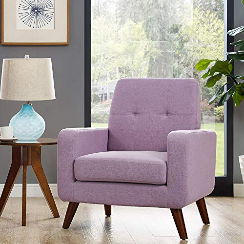 Dazone Modern Upholstered Accent Chair Comfy Armchair Tufted Button Linen Fabric Single Sofa Arm Chair Living Room Furniture Purple 2019 Updated (Best Apartment Sofas 2019)