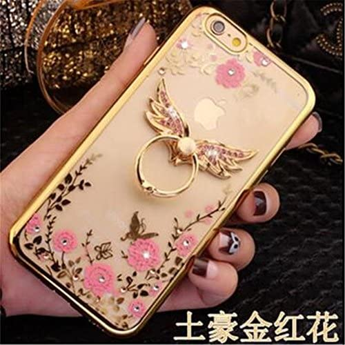 Galaxy S7 Case,Secret Garden Butterfly Floral Bling Swarovski Rhinestone Diamond Angel Wing 360 Degree Rotating Ring Kickstand Holder Case for Sales