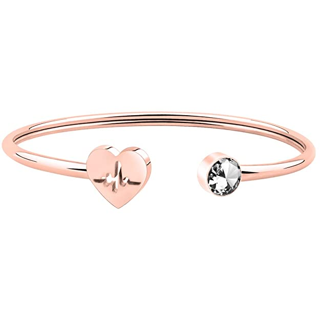 WUSUANED Dainty Rose Gold Heart Beat Cuff Bracelet Christmas Gift for Nurse Doctor (heartbeat bracelet)