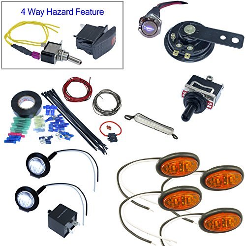 MCS UTV Toggle switch turn signal kit with horn and hardware - Oval LEDs License Plate (Oval License Plates Plate)