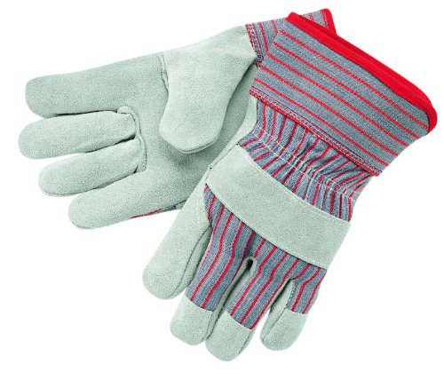 MCR Safety 1200XL Economy Shoulder Split Cow Leather Palm Men's Gloves with 2-1/2-Inch Rubberized Safety Cuff and Gunn Pattern, Natural Pearl, X-Large, (Economy Shoulder Split Work Gloves)