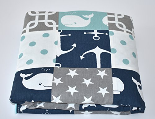 Nautical Patchwork Blanket or quilt by M&G Baby Glam