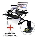 Boost Industries STS-DR35 Premium Sit to Stand Desk Riser/Monitor Stand with Gas Spring Height Adjustment Handles - Bonus OrthoMAT32 Anti-Fatigue Non-Slip Standing Mat Included! (Black)