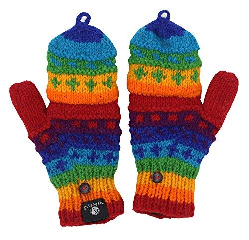 Convertible Wool (KayJayStyles Hand Knit 100% Wool Convertible Fingerless Mittens Glove Nepal (Rainbow 3))