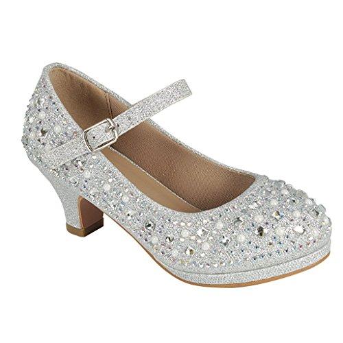 Coshare Kid's Fashion Little Girl Pretty Party Dress Pumps, Silver / Glitter PU 2
