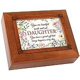 Cottage Garden Daughter Special Gift Everyday 10 x 8 Inch Woodgrain Tea Storage Jewelry Box