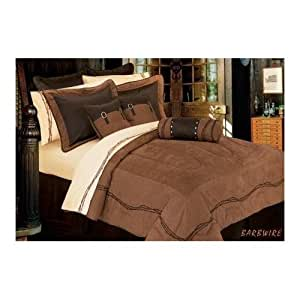 Barbwire western comforter set super queen for Kitchen queen set