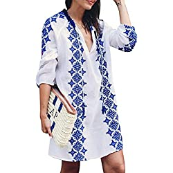 Women Sexy Bikini Cover up with Retro Boho Embroidery V Neck 3/4 Sleeve Dress Beachwear for Bathing Suits Swimwear Summer Beach Holiday (White,ONE Size)