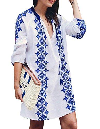 Women Sexy Bikini Cover up with Retro Boho Embroidery V Neck 3/4 Sleeve Dress Beachwear for Bathing Suits Swimwear Summer...
