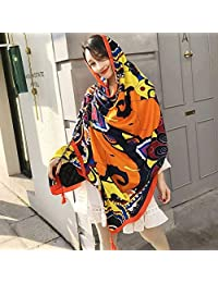 THSTVweijin Ms. Scarf Cotton Travel Scarf Vacation Sunscreen Scarf Air Conditioning Large Shawl Beach Towel THSTVweijin (Color : Elephant)